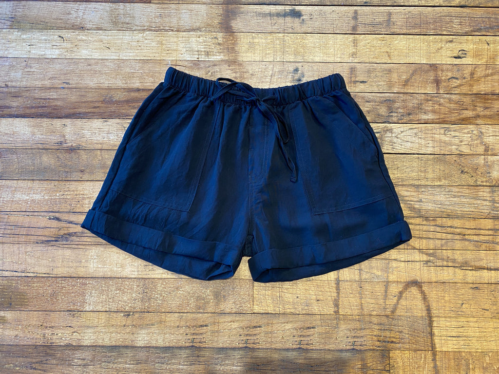River Walk Black Linen Shorts