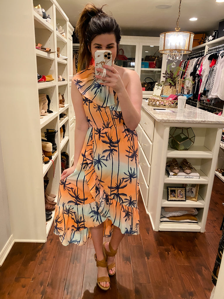 Palm Trees Sway One Shoulder Dress