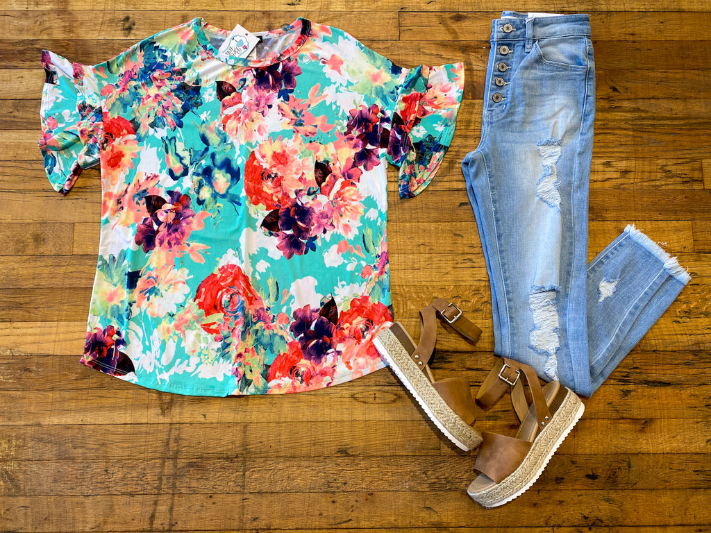 Up to Fate Floral Top in Mint