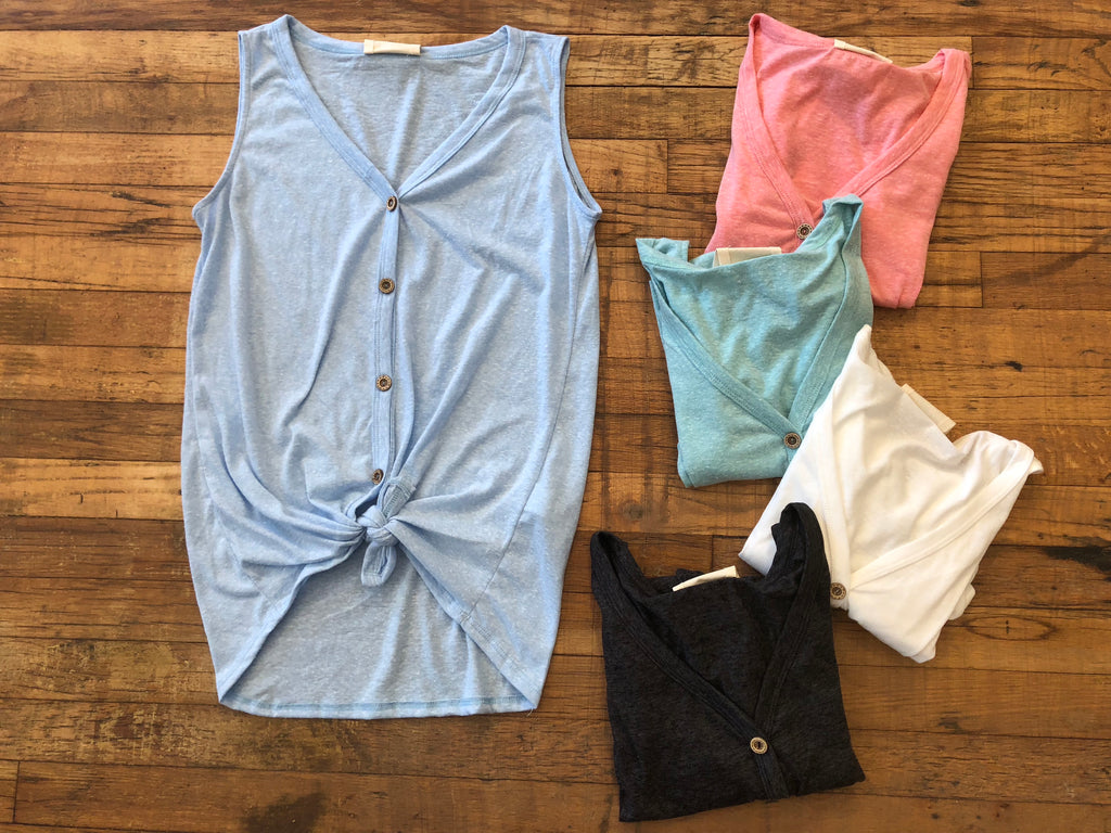 *BELLES & STEALS* Silas Tie Front Tank in Blue, Coral, Mint, White, and Black