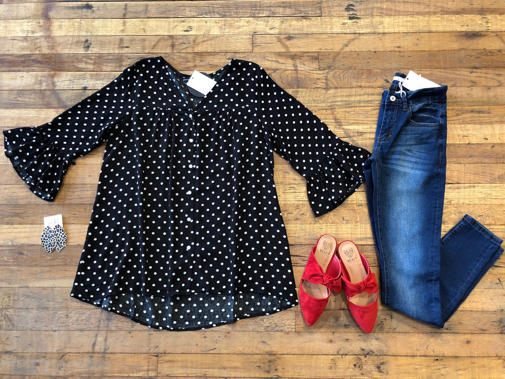 Dreaming of Dots Top in Black