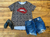 Glitter Lips Top in Leopard