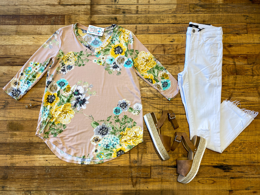 As it Goes Floral Tunic in Blush