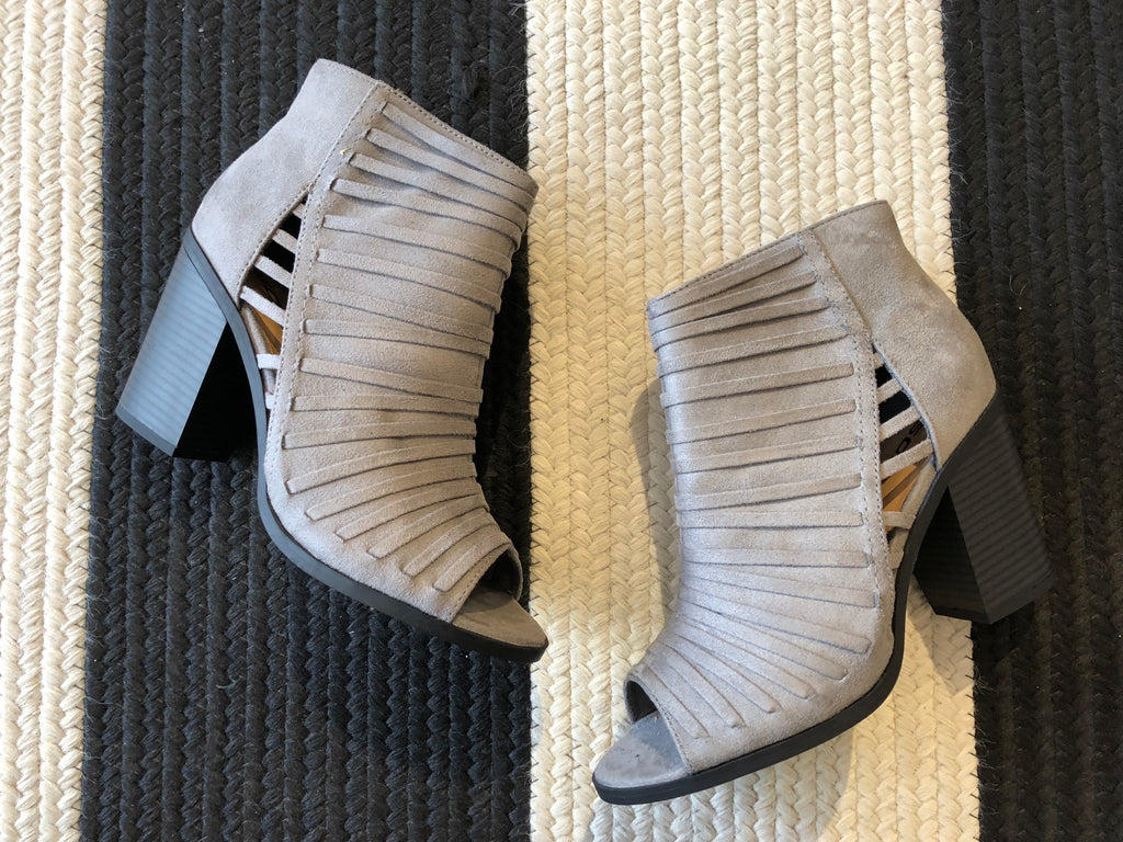 SALE! Saylor Open Toe Booties in Gray