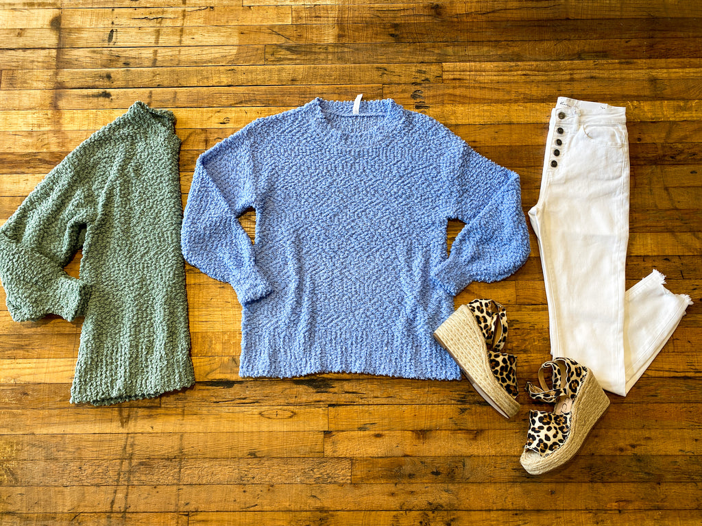 *BELLES & DOORBUSTER* Popcorn Sweater in Light Green and Blue