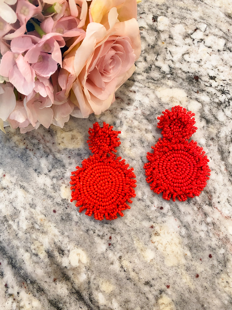 Beach, Please Seed Bead Earrings in Red