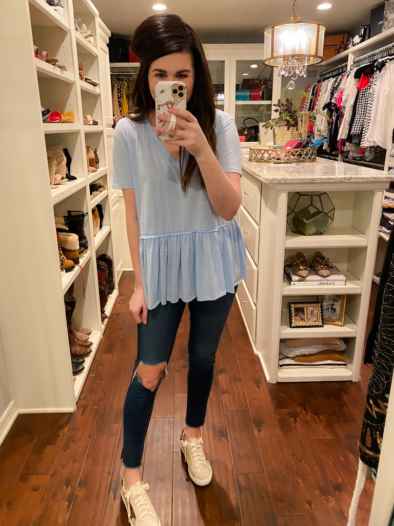 Lazy Days Peplum Top in Blue