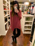 Basically Yours Tunic Top in Plum and Gray