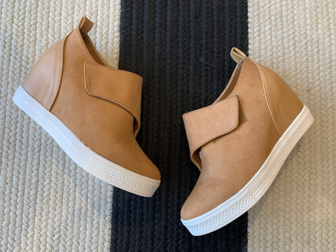Perforated Slip On Sneakers in Camel