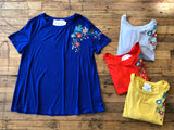 *BELLES & STEALS* Burkett Embroidered Top in Blue, Gray, Red, and Mustard