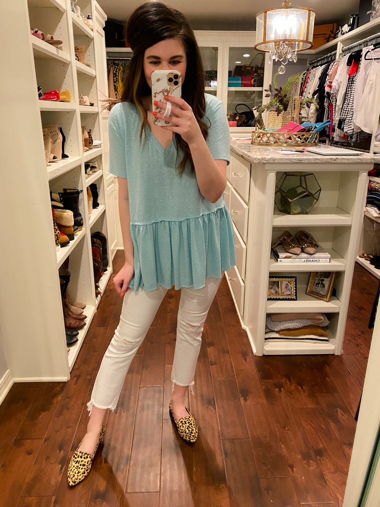 Lazy Days Peplum Top in Seafoam