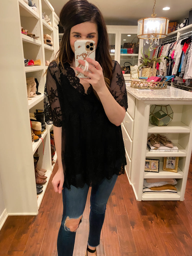 One Wish Lace Top in Black