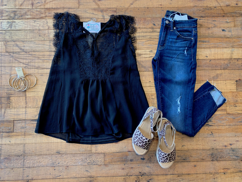 Everlasting Love Lace Tank in Black