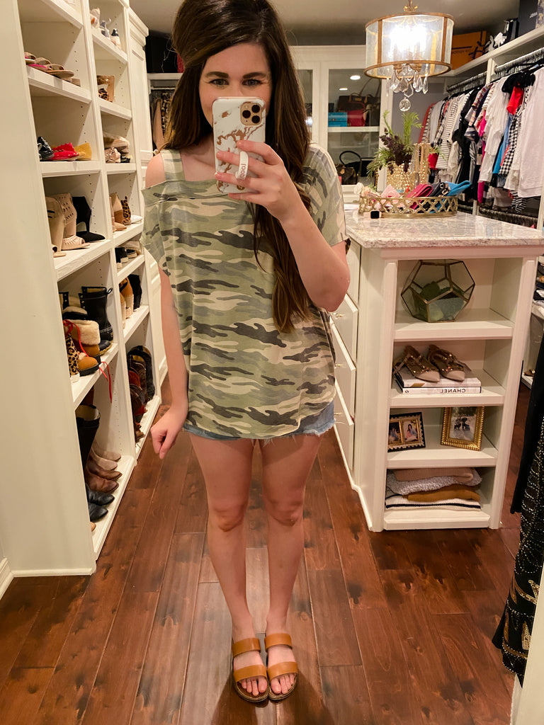 The Hunt is Over Camo Top in Army Green