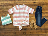 Boardwalk Days Striped Tie Front Top in Mint and Pink