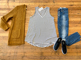 Every Day Striped Layering Tank in White/Black