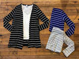 Shiloh Striped Cardigan in Black, Royal, and Gray