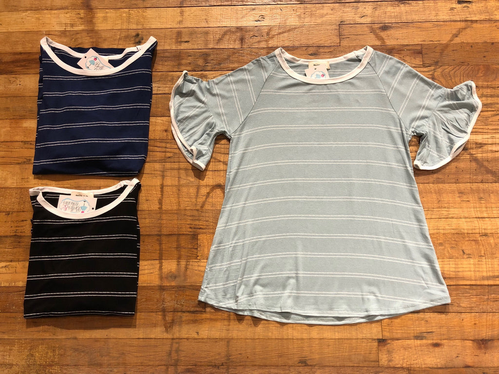 SALE! Marilyn Top in Navy, Black, and Sage