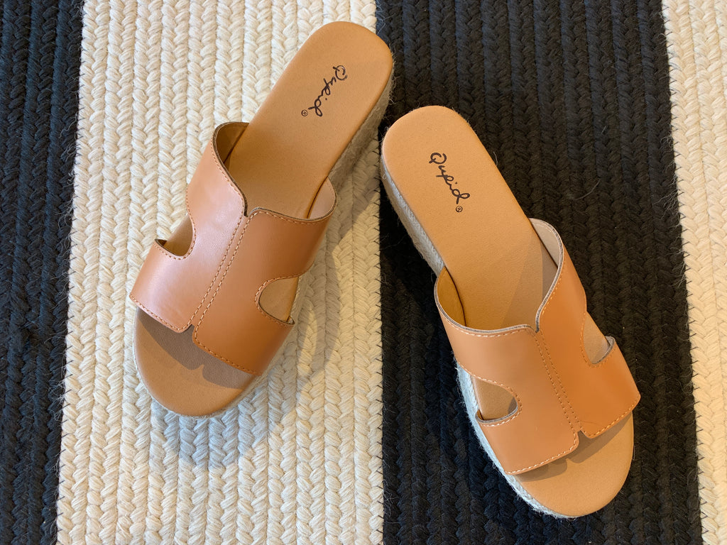 Beach Bungalow Wedges in Tan
