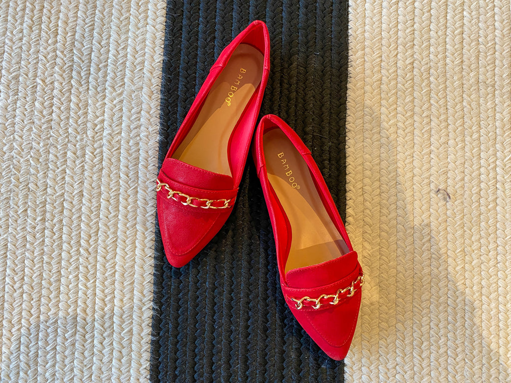 Chain Loafers in Red