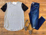 Ballard Striped and Lace Top