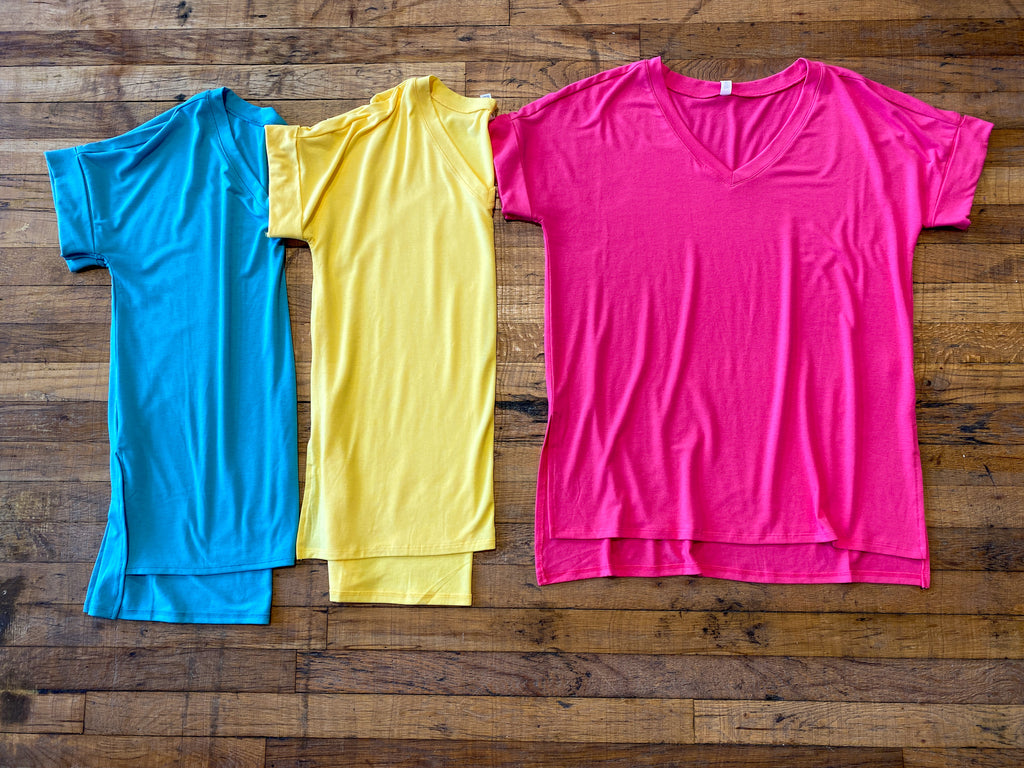 *BELLES & DOORBUSTER* Bright Side V-Neck Tee in Multiple Colors
