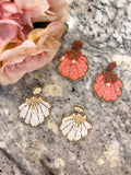 Shell and Pearl Earrings in White and Coral