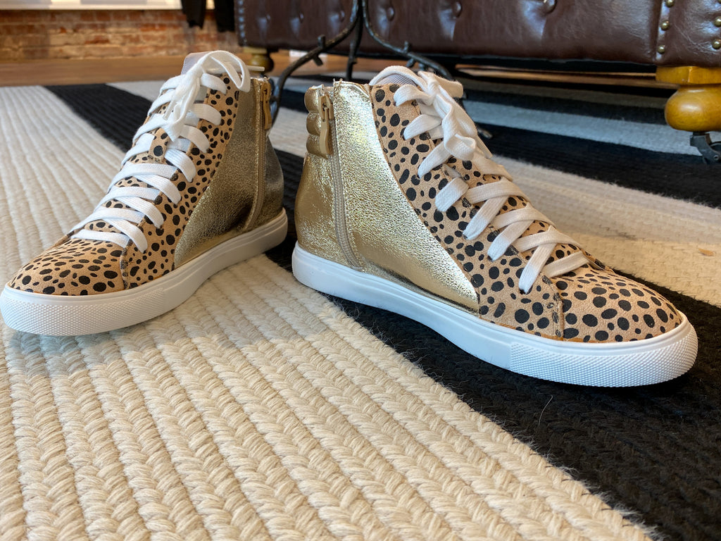 Lowell High Top Sneakers in Gold
