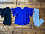 Moxie Ruffle Sleeve Top in Black and Royal