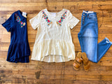 SALE! Jennie Embroidered Top in Navy and Ivory