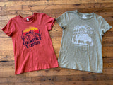 Cotton Graphic Tees in Rust and Sage