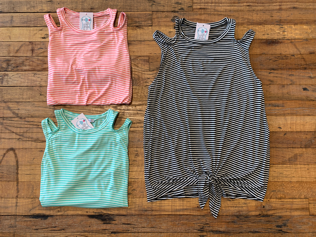 Lola Striped Tie Front Tank in Pink, Mint, and Black