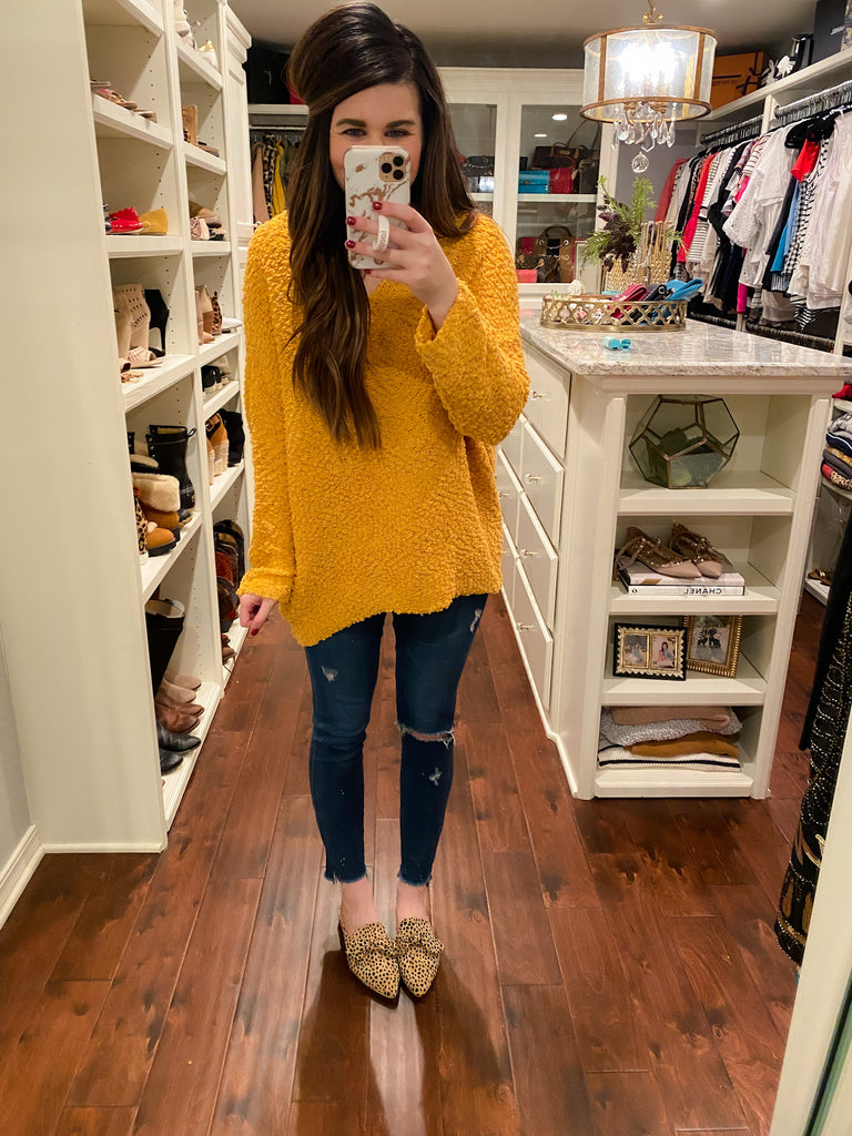 Jennings Popcorn Sweater in Mustard