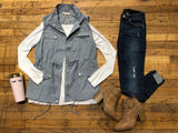 Spring Safari Vest in Dusty Blue