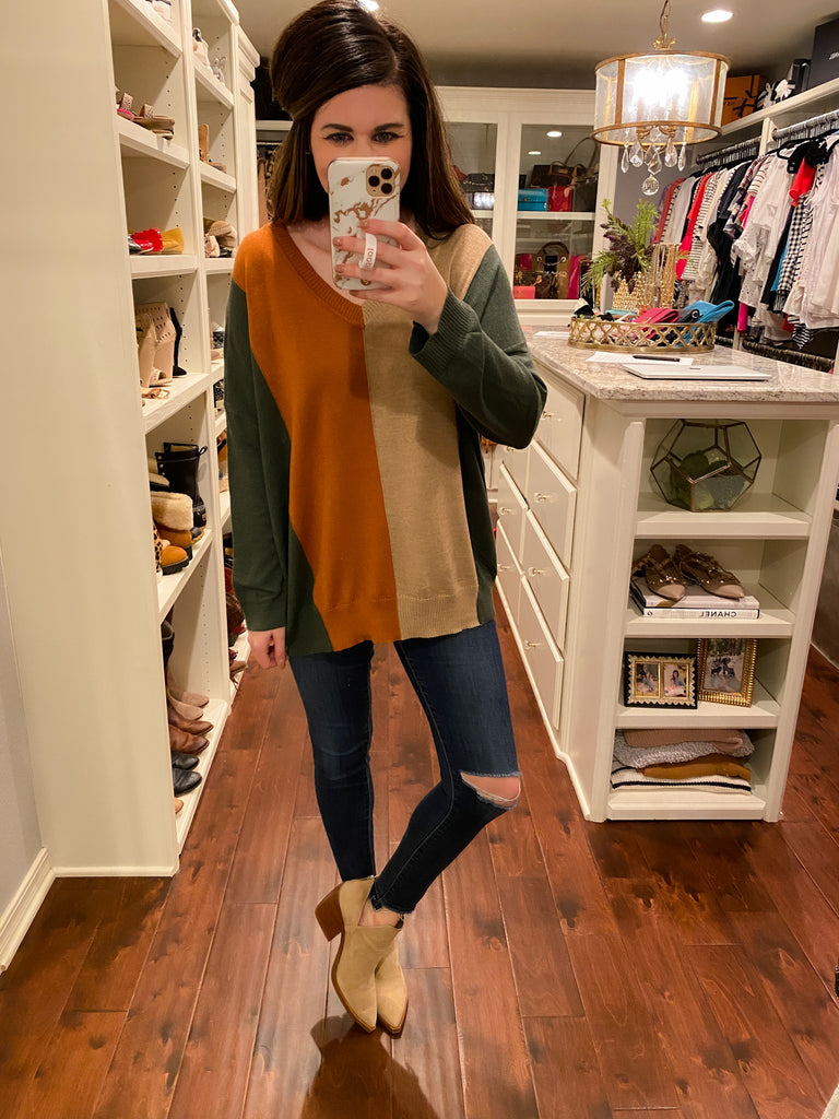 Wilder Sweater in Olive/Camel