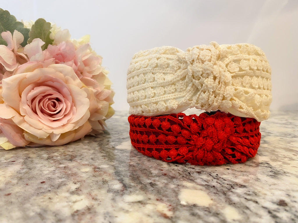 Crochet Knot Headband in Red and Ivory