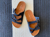 Read Triple Strap Sandals in Black