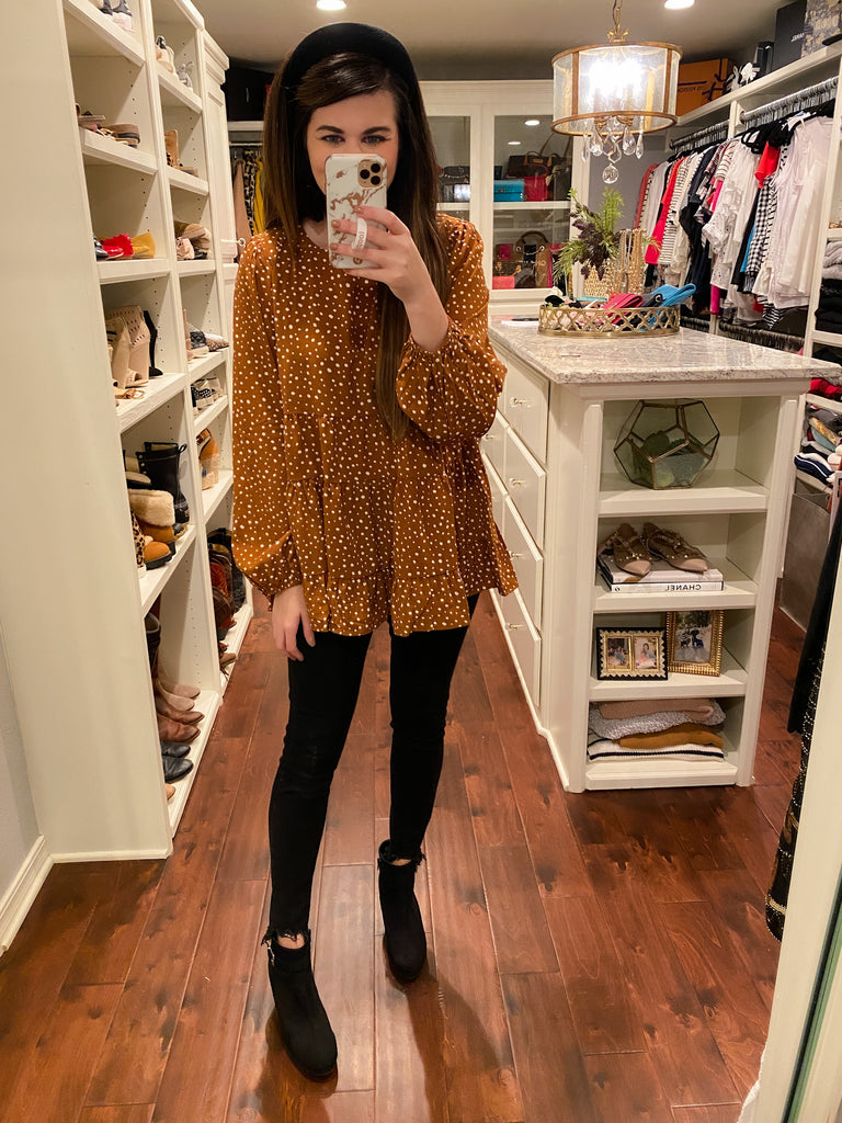 Brynn Tiered Polka Dot Top in Toffee