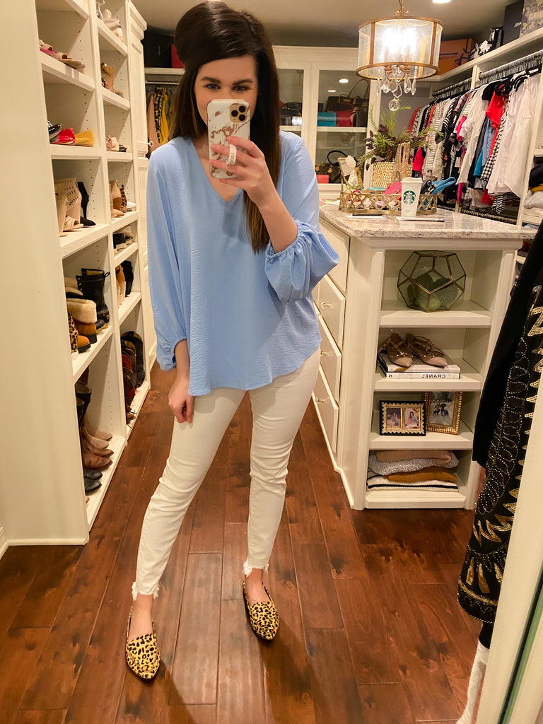 Slay the Office Top in Sky Blue