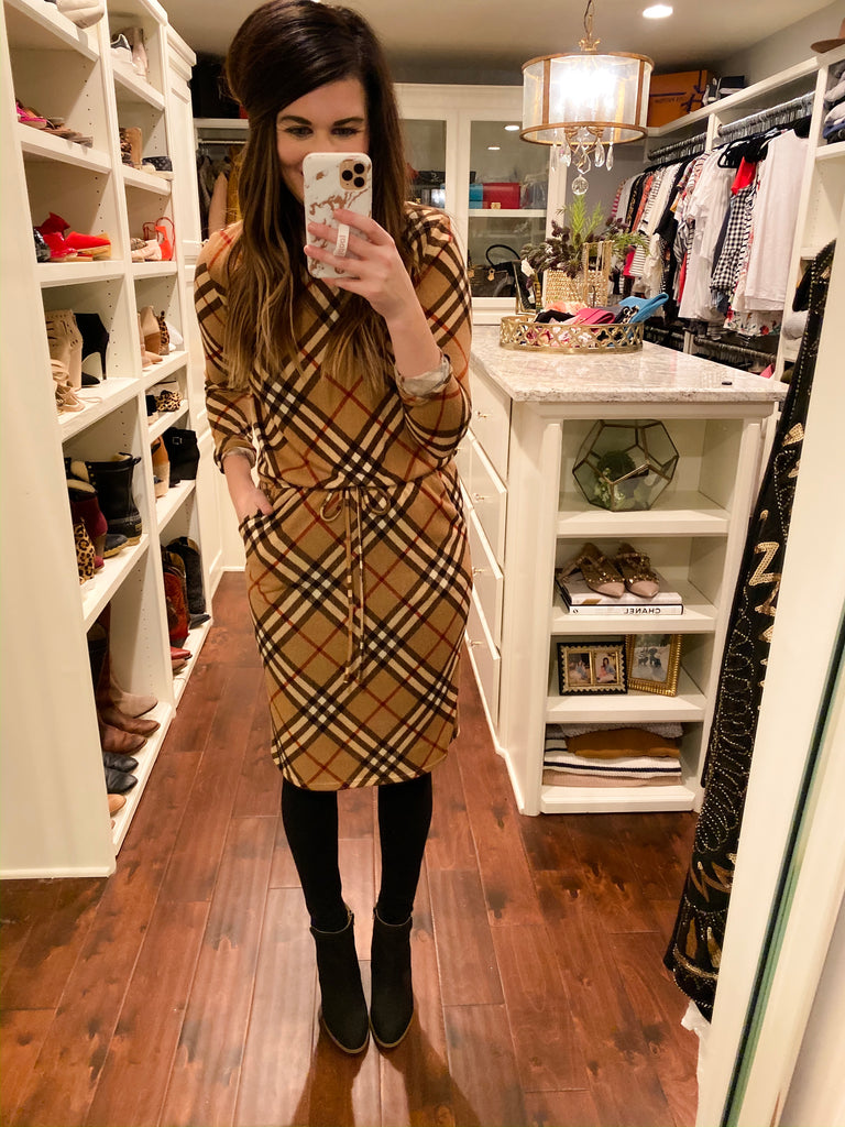 *BELLES & STEALS* Easy Charm Plaid Dress in Rust and Taupe