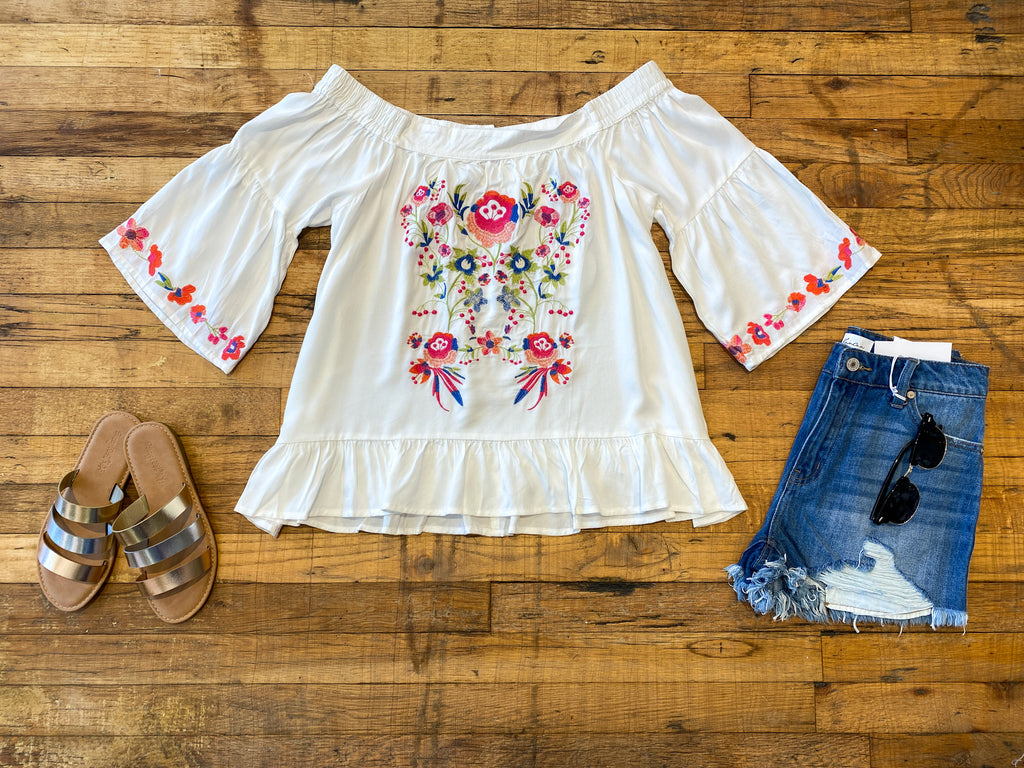 SALE! Mariana Embroidered Off-The-Shoulder Top in White