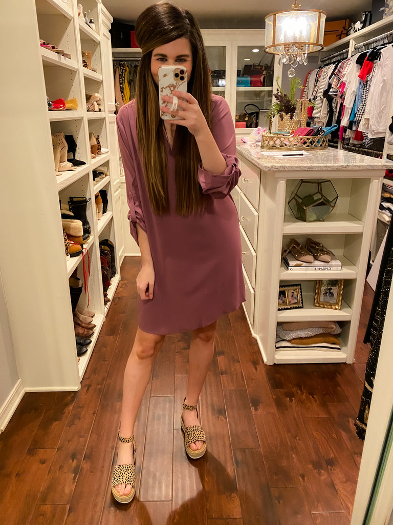 Chic Street Shirt Dress in Wisteria