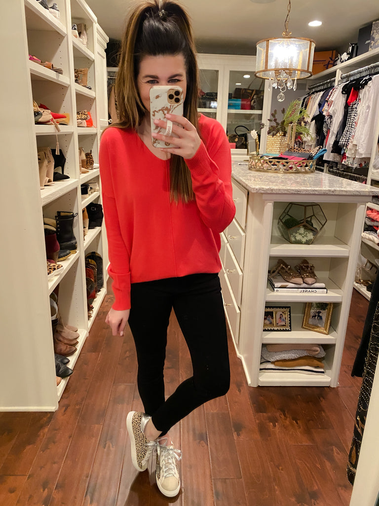 Feel the Chill Sweater in Bright Coral