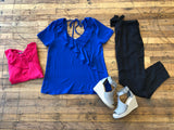 SALE! Tyndall Top in Fuchsia and Royal