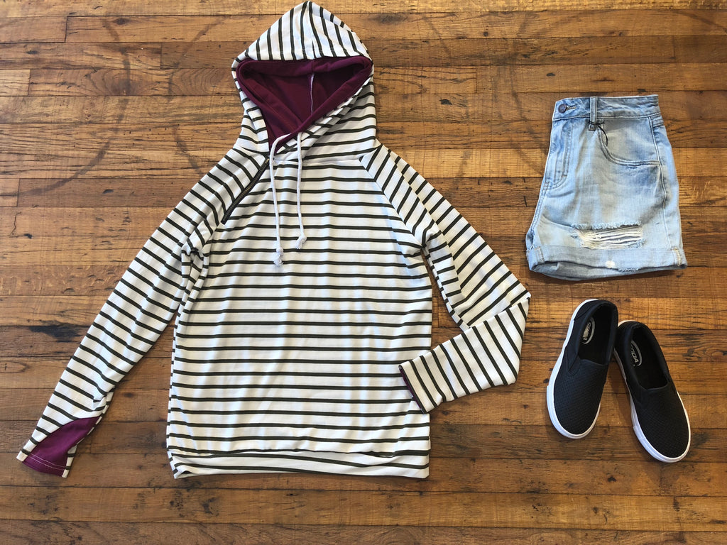 Weekend Plans Hooded Sweatshirt in Olive Stripes/Plum