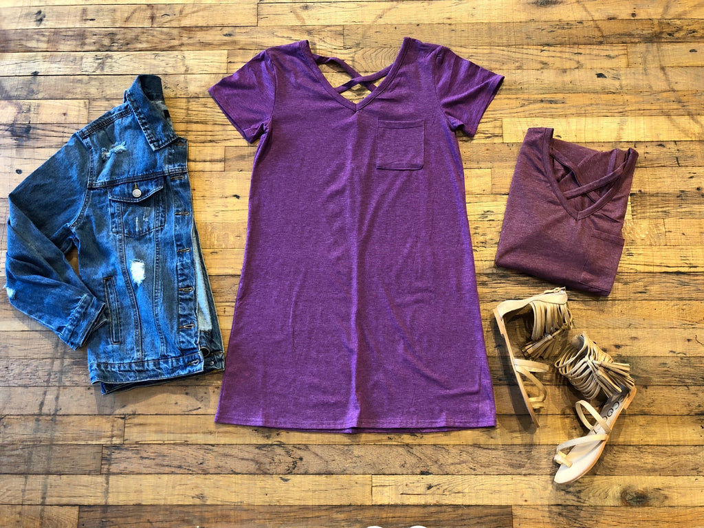 *BELLES & STEALS* Crawford Dress in Plum and Burgundy