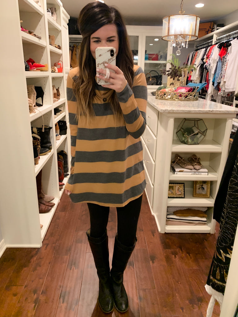 Varsity Button Tunic in Mustard and Red