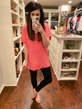 Basic V-Neck Tee in Candy Wrap Pink
