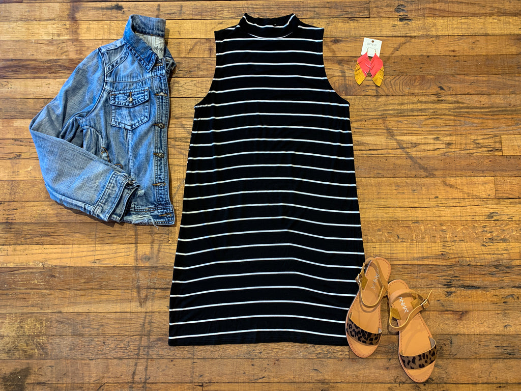 Sunset Chasing Striped Dress in Black