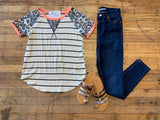 *BELLES & STEALS* Amaya Stripes and Leopard Top